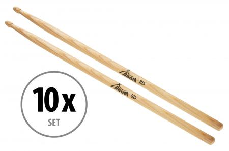 10 pairs of XDrum 8D Wood Hickory Drumsticks