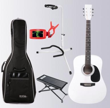 Classic Cantabile WS-10WH Westerngitarre weiß Set mit Zubehör