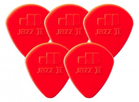 5er Set Dunlop Nylon Jazz II Plektrum 1,18 rot