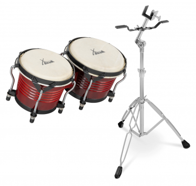 Set de XDrum Bongo Pro Vintage color borgoña (incl. soporte)