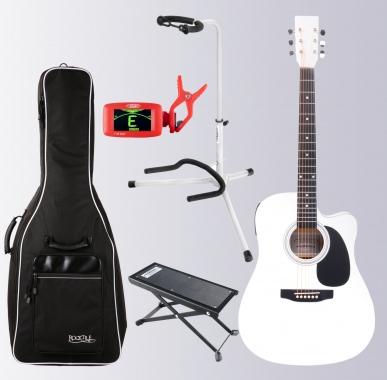 Classic Cantabile WS-10WH-CE Westerngitarre weiß mit Tonabnehmer Set mit Zubehör
