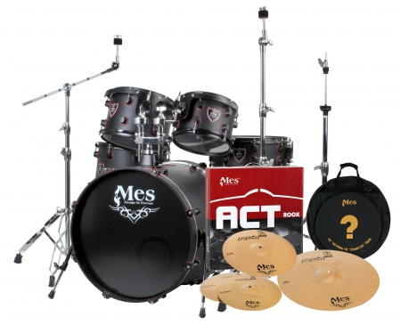 MES Black Fusion  set de batterie,, Set incl. MES Act Series kit de cymbales