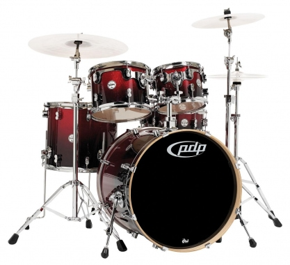 DW PDP Concept Maple 5 Standard Red to Black Sparkle Fade