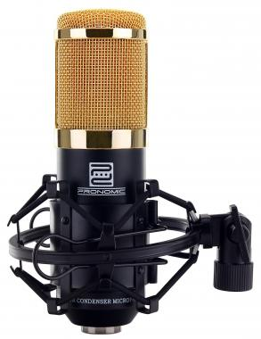 Pronomic CM-100BG Large-Diaphragm Studio Microphone with shouck mount & windscreen, black