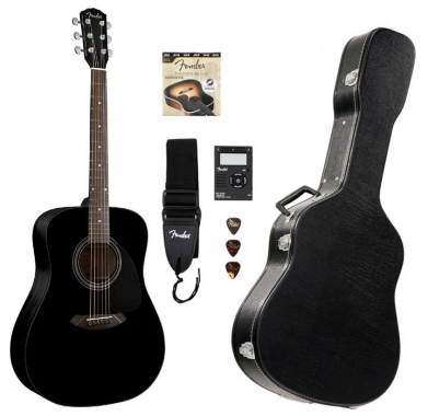 Fender CD-60 Pack Guitarra acústica, color negro (Incluido estuche)