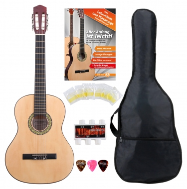 Classic Cantabile AS-851-L guitare de concert 4/4 pour gauchers Starter-SET