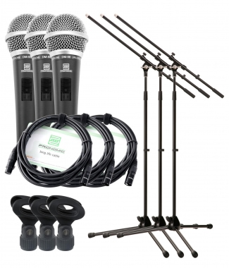 Pronomic DM-58 Vocal Microphone with Switch 3 Starter Set incl. 3x stand + clamp + cable