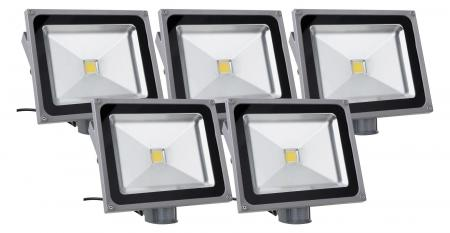 Showlite FL-2050B LED faretto IP65 50 Watt 5500 Lumen sensore movimento SET 5 pezzi