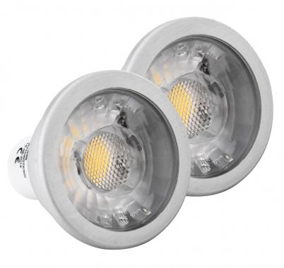 2x SET Showlite LED ampoule  COB GU10W07K30D 7 Watt, 550 Lumen, socle GU10, 3000 Kelvin, dimmable