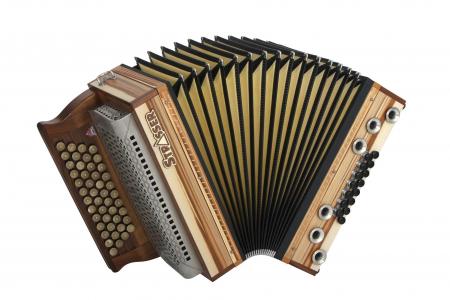 Strasser 4/III Hoamat Harmonika G-C-F-B mit X-Bass, Satin Nuss