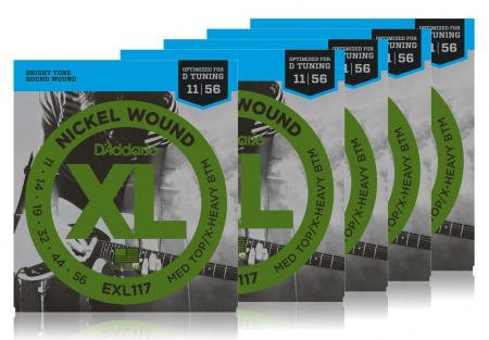D'Addario EXL117 Medium Top/Extra-Heavy Bottom - 5er Pack