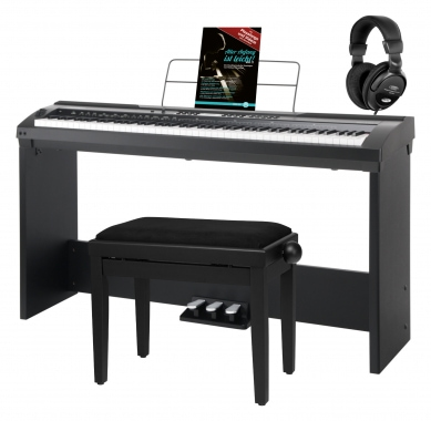 Classic Cantabile SP-150 BK Stage Piano black Deluxe set incl. stand, bench, headphones