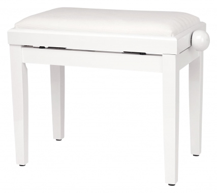Classic Cantabile Piano Bench High Gloss White