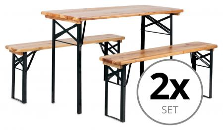 2x Stagecaptain Hirschgarten beer table and bench set ideal for balcony 117 cm