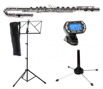 Classic Cantabile FL-100J Flute, nickel silver with music stand, tuner and stand