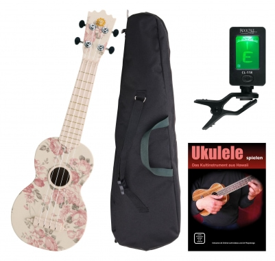 Classic Cantabile BeachBuddy Desert Rose Ukulele, set incl. Tuner