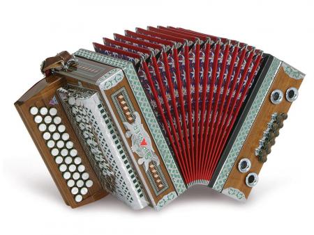 Strasser 3/II Classic Harmonika 3-reihig, 2-chörig B-Es-As, mit X-Bass, Nussholz/Rot
