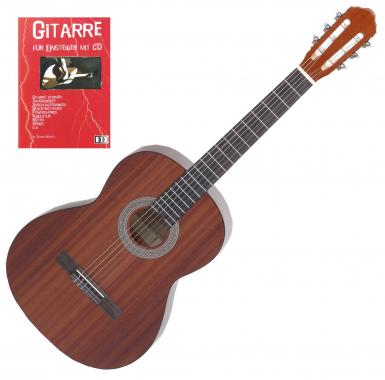 Classic Cantabile Acoustic Series AS-M Konzertgitarre, Mahagoni + Gitarre für Einsteiger mit CD