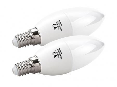 Lot de 2 Showlite LED ampoule flamme E14W05K30N 5 watts, 290 lumens, culot de l'ampoule E14, 3000 kelvin