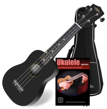 Classic Cantabile US-100 BK set Black sopran ukulele with bag