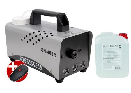 Complete Set: Showlite SN-400R LED fog machine, red, 400W, incl. remote control + 5 L fog fluid