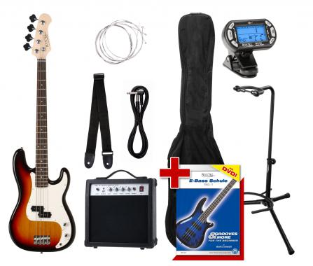 Rocktile Paquet PB Basse Électrique Set III Sunburst +  Accordeur à Clipser + Stands de Guitare