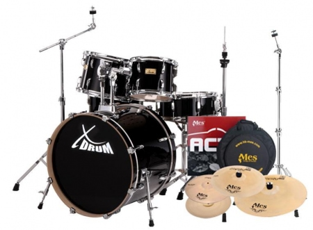 XDrum Stage II Drum set Raven Black including cymbals & cymbal stands