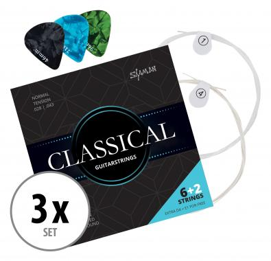 Shaman Classical Strings for Concert Guitar Incl. 2 Spare Strings and 3 Picks 3x Set