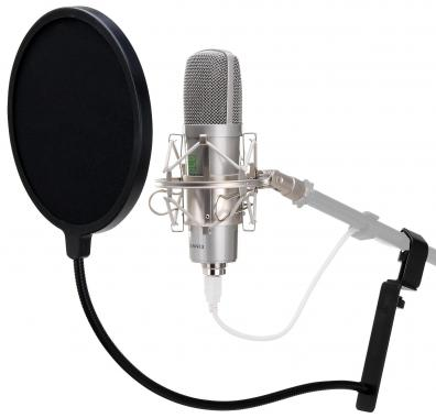 Pronomic USB-M 910 Podcast Condenser Microphone (silver) and Pop Filter (black)