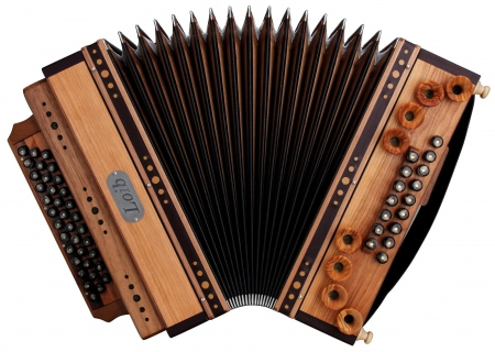Loib Accordion IVD Cherry/Walnut B-E#-A#-D#-H Bass, X-Bass wood housing
