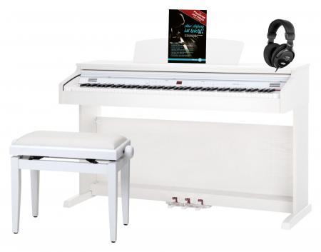 Classic Cantabile DP-50 WM E-Piano wit mat set met pianobank, koptelefoon