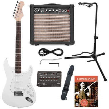 Rocktile Sphere Electric Guitar Classic White Set