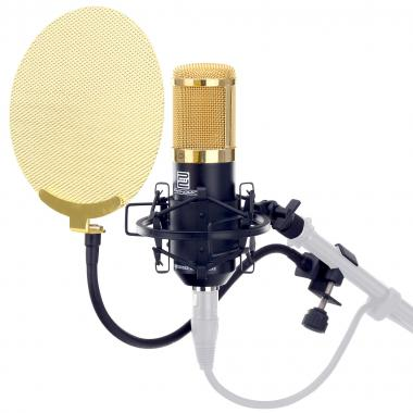 Pronomic CM-100BG studio condenser microphone black/gold SET incl. Pop fliter gold