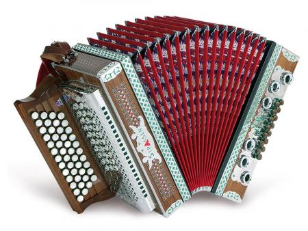 Strasser 4/III Professional Harmonika 4-reihig, 3-chörig G-C-F-B mit X-Bass, Rot