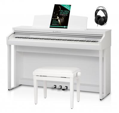 Kawai CA 48 W Digital Piano Weiß Set inkl. Pianobank, Kopfhörer & Schule