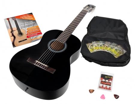 Calida Benita Konzertgitarre Set 4/4 negro con accesorios