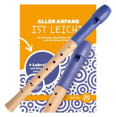 Classic Cantabile Pivella Blockflöte barock blau SET inkl. Flötenschule