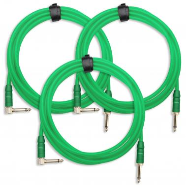 3-Piece SET Pronomic Trendline INST-3B Instrument Cable 3m green