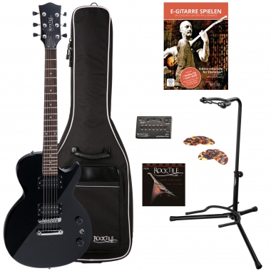 Rocktile LP-100 E-guitar, black SET gig bag + strings + stand + tuner + picks