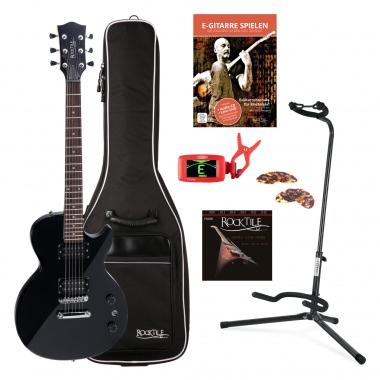 Rocktile LP-100 Guitare Électrique noir BL SET Housse pour + Cordes + support