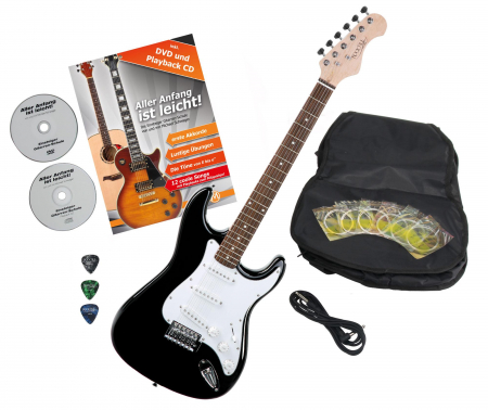 Rocktile Sphere Classic electric guitar black with accessories