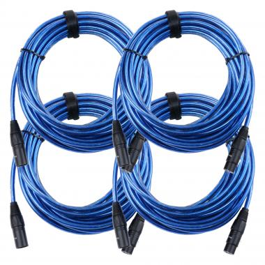 Pronomic Stage XFXM-Blue-10 Microphone Cable XLR 10m Metallic Blue 4x SET