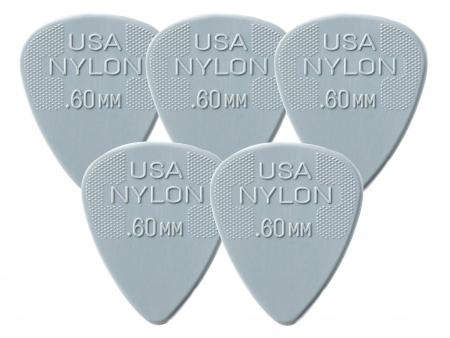 5er Set Dunlop Nylon Standard Plektrum 0,60 hellgrau