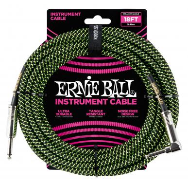 Ernie Ball 6082 Instrumentenkabel 5,49 m Schwarz/Grün