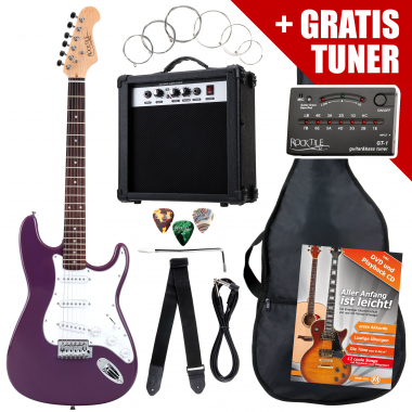 Rocktile ST Pack Electric Guitar Set, Purple, incl. amp, bag, tuner, cable, strap, strings