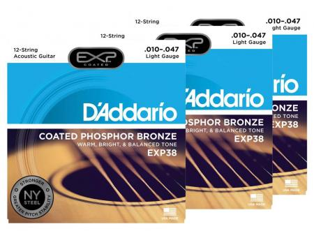 D'Addario EXP38 Light 12-string - 3er Pack
