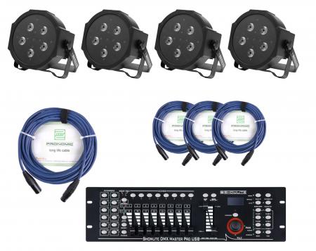 Showlite FLP-5x10W Scheinwerfer 4 x Set inkl. Showlite Master Pro USB & Kabel