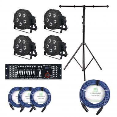 Showlite FLP-5x9W Floodlight 4-piece SET incl. DMX Master Pro USB Controller, Stand and Cable