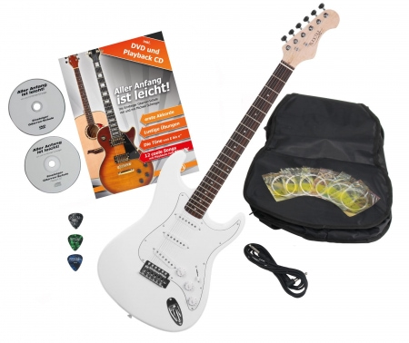 Rocktile Sphere Classic electric guitar white with accessories