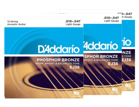 D'Addario EJ38 12-string Light - 3er Pack